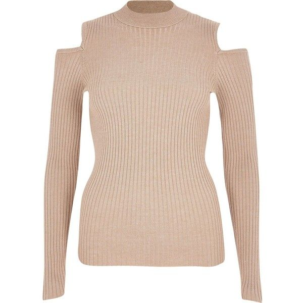 Beige knitted ribbed cold shoulder top ❤ liked on Polyvore featuring tops, long sleeve shirts, beige long sleeve shirt, high neck top, long sleeve cutout top, pink long sleeve top and cut out shoulder shirt