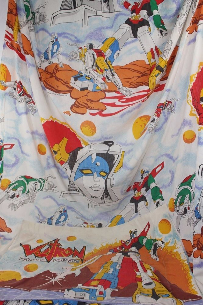 Vintage Voltron Twin Size Bed Sheet and Pillow Case 1984 World Events #WorldEvents
