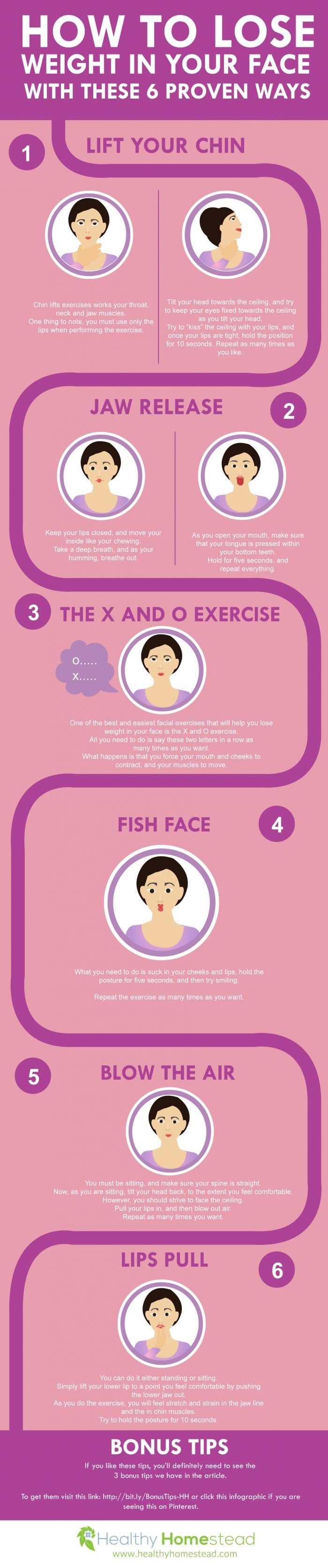 6 Proven Ways to Lose Weight in your Face #Infographics
