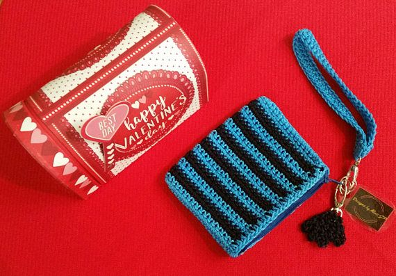 Turquoise Coin Purse  – credit card holder crochet turquoise with zipper