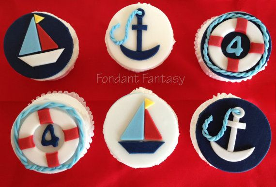 Nautical Cupcake Toppers by FondantFantasy on Etsy