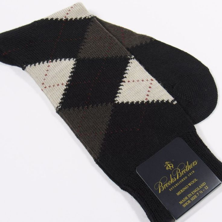 BROOKS BROTHERS Men's Argyle Dress Socks Merino Wool Made in England BLACK NWT #BrooksBrothers #Dress