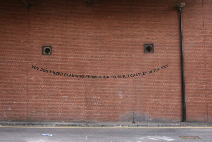 """""""you dont need planning permission to build castles in the sky""""    new Banksy work"""