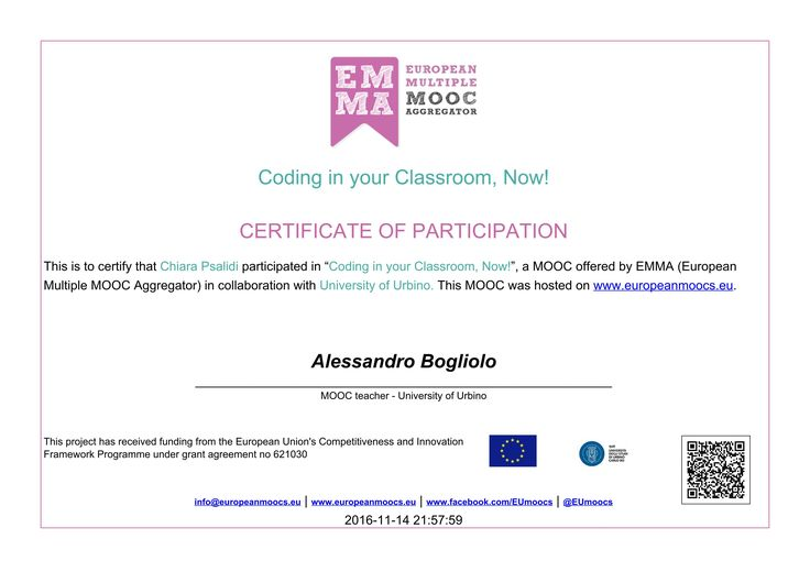 Il certificato di completamento di Coding in Your Classroom New