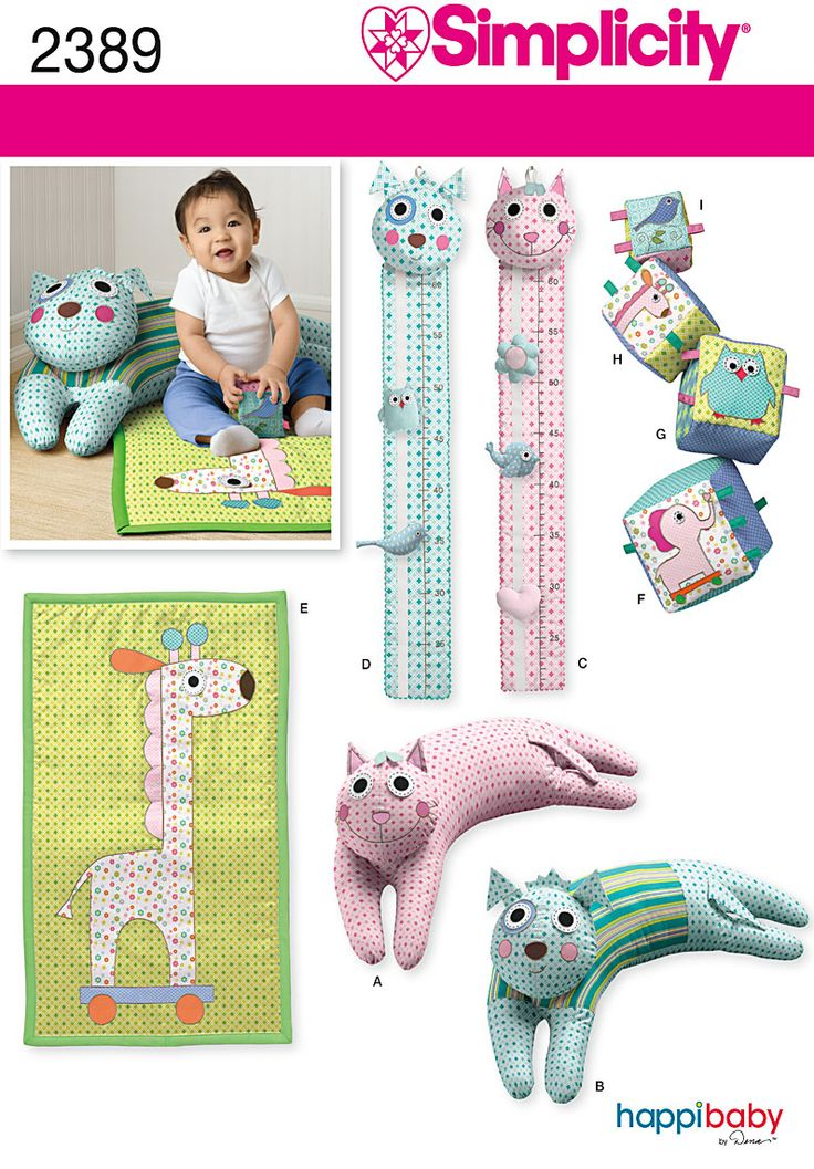 2389Babies' Accessories  Babies' sewing pattern includes booster pillow, play mat, baby blocks and growth chart.