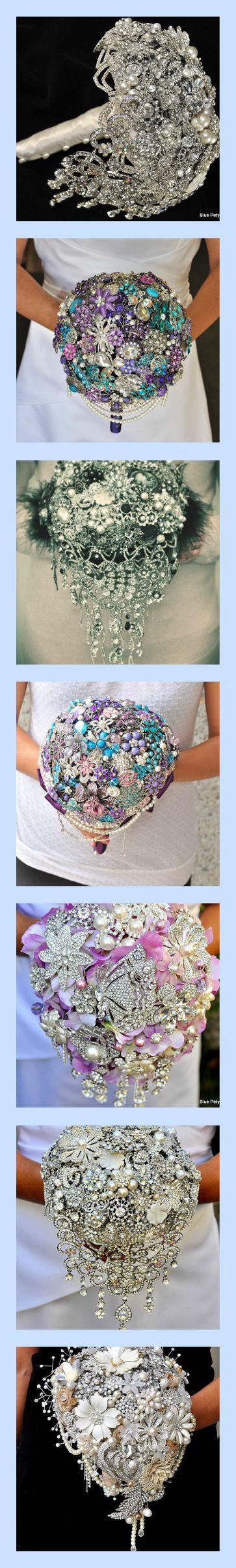 Cascading Brooch Bouquet - Blue Petyl #wedding #bouquet