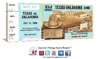 Oklahoma Sooners football tickets, OU football tickets, Oklahoma football tickets, OU-TX tickets, vintage college football ticket stubs