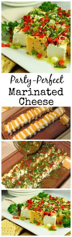 Marinated Cheese ~ always the hit of the party. www.thekitchenismyplayground.com  -1 (8 oz.) block sharp cheddar cheese -1 (8 oz.) package cream cheese Marinade: -1/2 c. extra-virgin olive oil -1/2 c. white wine vinegar -3 T. chopped fresh parsley -3 T. minced green onions -3 cloves garlic, minced -1 (2 oz.) jar diced pimiento, drained -1 tsp. granulated sugar -3/4 tsp. dried basil -1/2 tsp. salt -1/2 tsp. freshly ground pepper