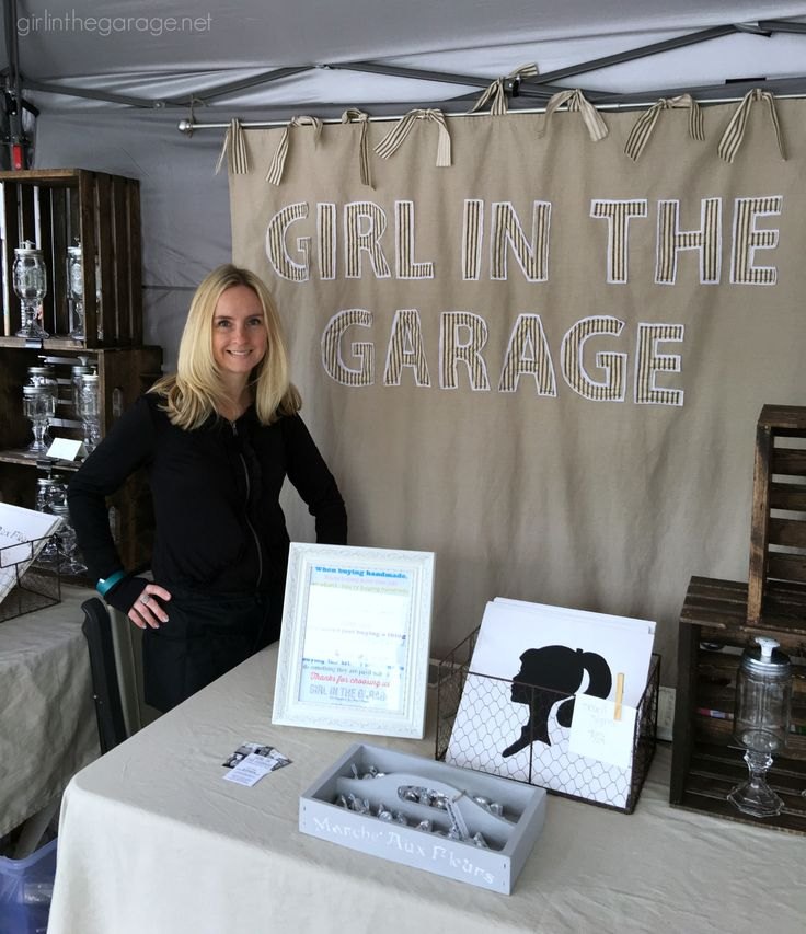 How to make a DIY fabric backdrop (Sign for vintage market) - Girl in the Garage