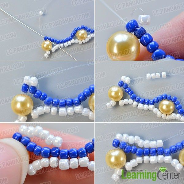 make the fourth part of the blue seed bead stitch wide bracelet
