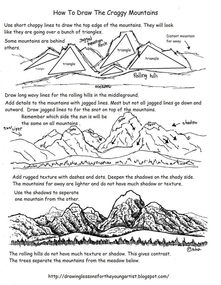 How to Draw Worksheets for The Young Artist: How To Draw Craggy Distant Mountains