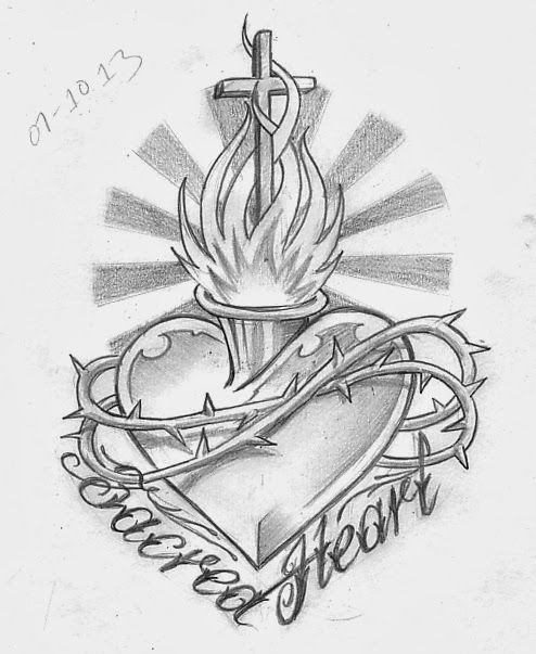Heart Tattoo Line Drawing : Best sacred heart tattoos ideas on pinterest