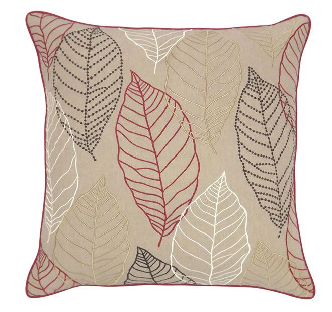 DG37 Loose Leaves 45x45cm Filled Cushion Red