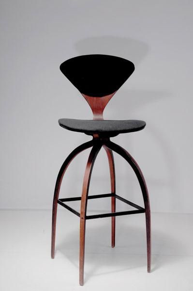 norman cherner walnut veneer and painted iron bar stool for plycraft