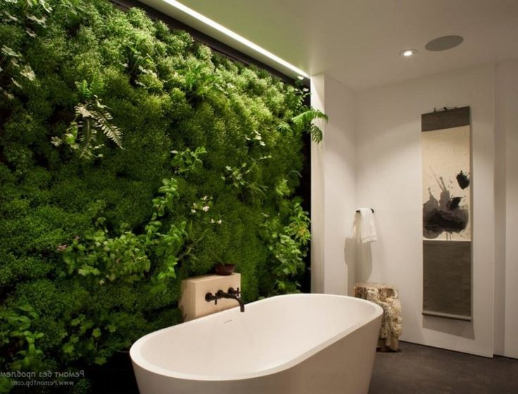 Photo Album For Website Bathroom Interactive Plants Bathroom Design Set On The Wall Beside Bathtub Including Led Lighting Idea