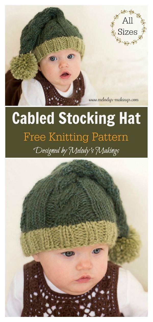 Cabled Stocking Hat Free Knitting Pattern  freeknittingpattern  knithat   christmasholidays 59a4236b0af