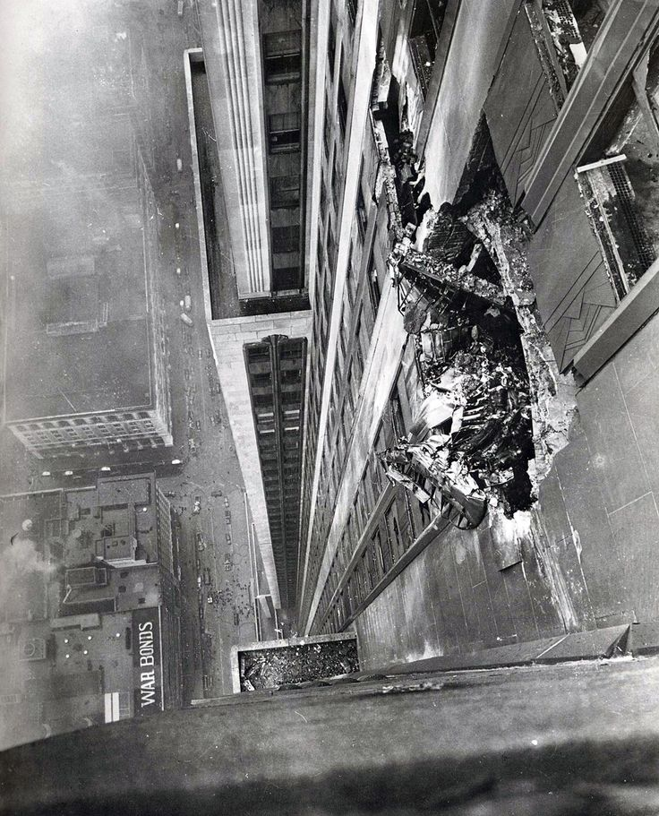 A B-25 bomber crashes into the Empire State Building on the morning of July 28, 1945