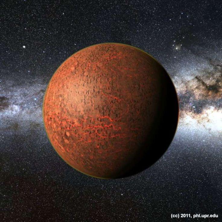 Vue réaliste d'une exoplanète carbonée de la taille de Mars avec une atmosphère fine, synthétisée avec un ordinateur. © Planetary Habitability Laboratory, UPR Arecibo, 2011
