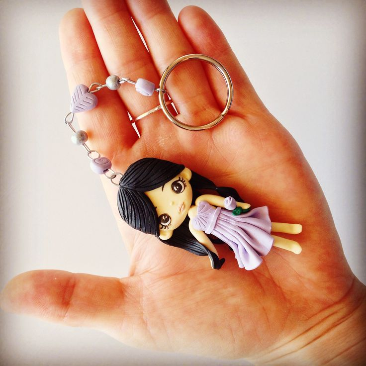 Custom made bridesmaid gift - Polymer clay girl figurine key ring made for each of your bridesmaids to say thank you for all their help on your Wedding day.