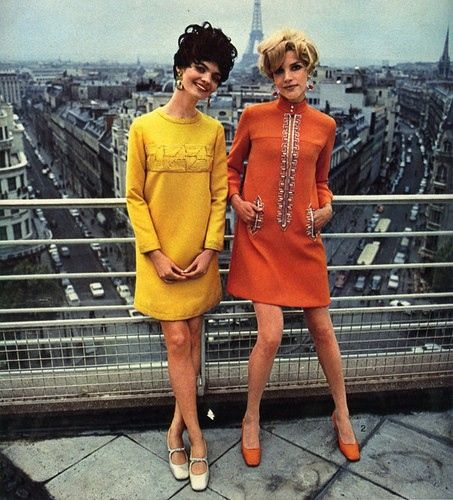 Linda Morand and Alana Collins in top of the Arc de Triomph Paris 1967 They were among a group of young New York models to be brought to Paris for the Spring 1967 Collections by Cardin.
