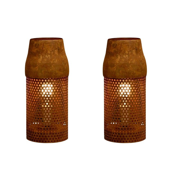 Rivet and Rust Industrial Brown Metal Cylinder Lamps (Set of 2) (Pair of Industrial Cylinder Lamps)