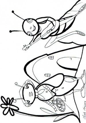 Grasshopper and Ant coloring page