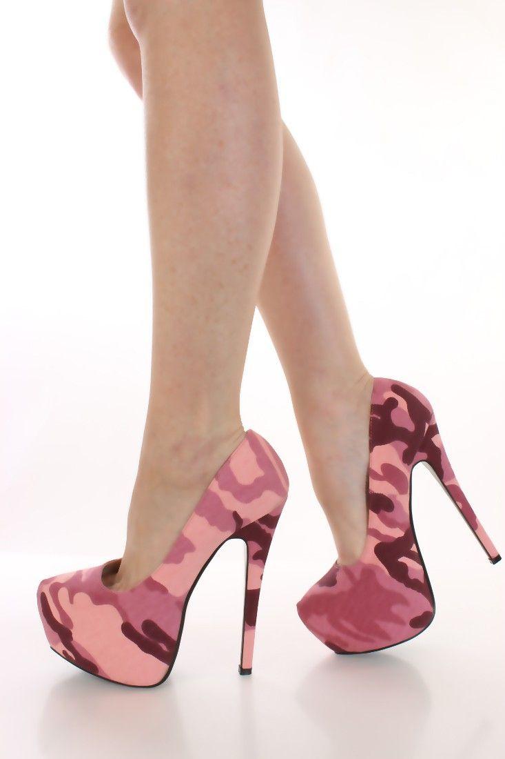 Pink Camouflage Print Pump Heels
