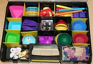 Bento supplies can quickly get out of hand and start spilling out of your cupboards.  This is a great use of a tool box to help keep them organized