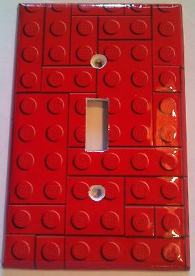 Red Lego Blocks Single Light Switch Plate Cover Bathroom Room Decor | eBay