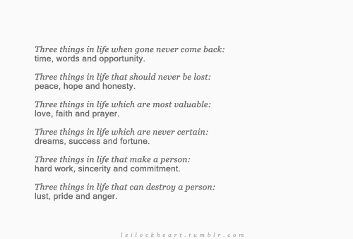 Three things in life...: Hmmm Things, Life, True Thoughts, Inspiration Lif, Three Things, Favorite Quotes, Quotes Lyr, Living, Inspiration Quotes