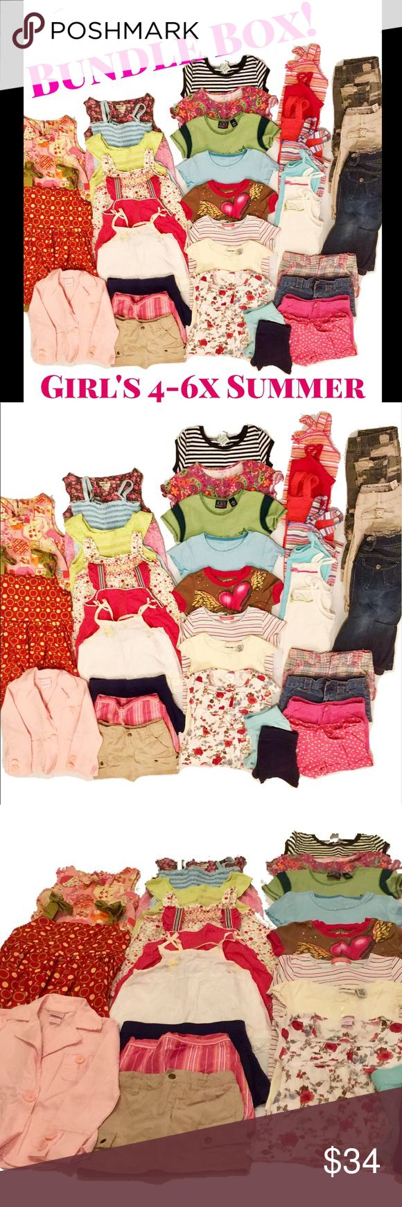 """📦 BUNDLE BOX! Girl's 4-6x Summer Girls size 4-6x box loaded with Summer clothes! Here's what you get: 2 dresses, 1 jacket, 6 blouses, 3 skorts, 8 t-shirts, 7 tank tops, 6 shorts, 3 Capri pants. This is a great deal- these huge bundles never last long, so snatch it up! Box size: 12""""x14""""x8"""" multiple brands Matching Sets"""