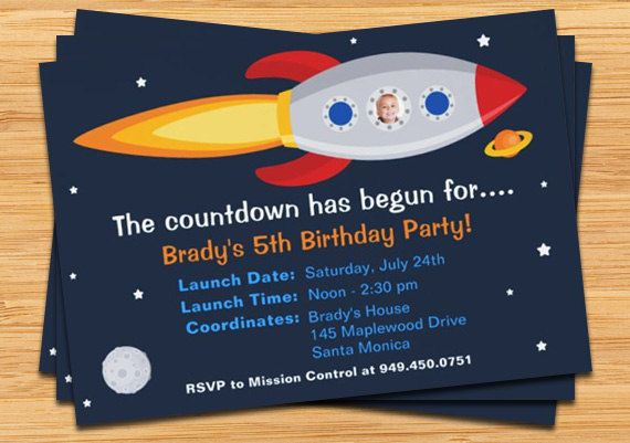 Hey, ho trovato questa fantastica inserzione di Etsy su http://www.etsy.com/listing/56826822/rocket-ship-birthday-party-invitation