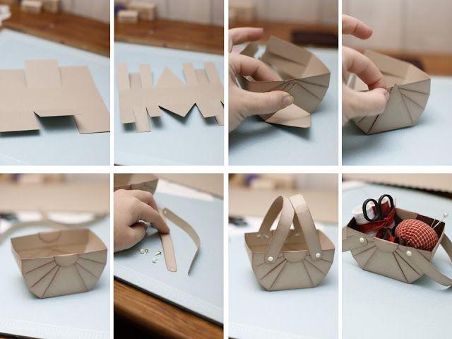 Como fazer caixinha em formato de cesta de piquenique de papel de scrapbook para material de costura ou guloseimas ~ VillarteDesign Artesanato