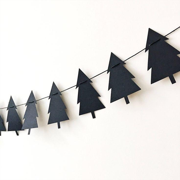 Excited to share the latest addition to my #etsy shop: Lumberjack Pine Tree Garland Scandinavian Garland Black Scandi Nordic Christmas Tree Garland Black Pine Tree Birthday Nursery Decorations