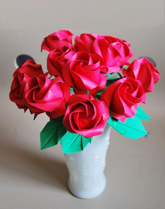 Dozen Roses  paper Rose bouquet  Origami Roses  by ARTENJOYMENT