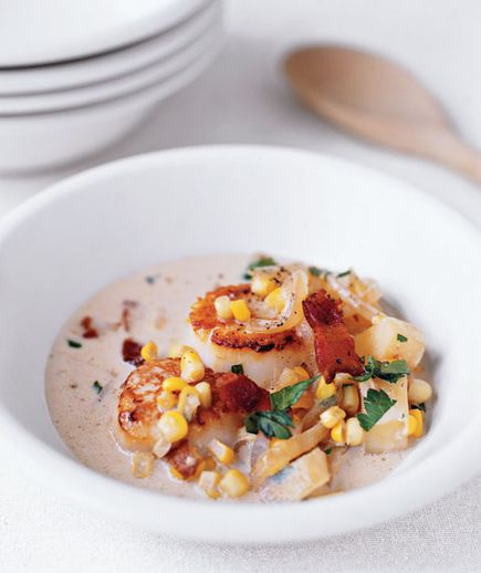 Scallop and Corn Chowder: This creamy soup marries bright corn kernels with tender potatoes, crisp bacon, and golden brown scallops.