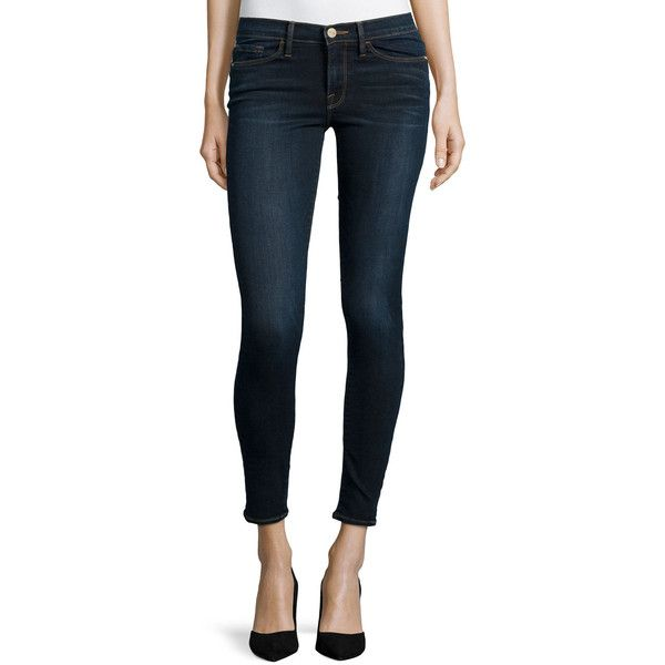 FRAME Le Skinny De Jeanne Jeans (950 BRL) ❤ liked on Polyvore featuring jeans, st bride, fitted jeans, faded jeans, zipper jeans, faded blue jeans and cropped jeans