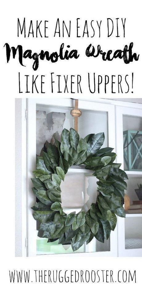 DIY Fixer-Upper style magnolia wreath