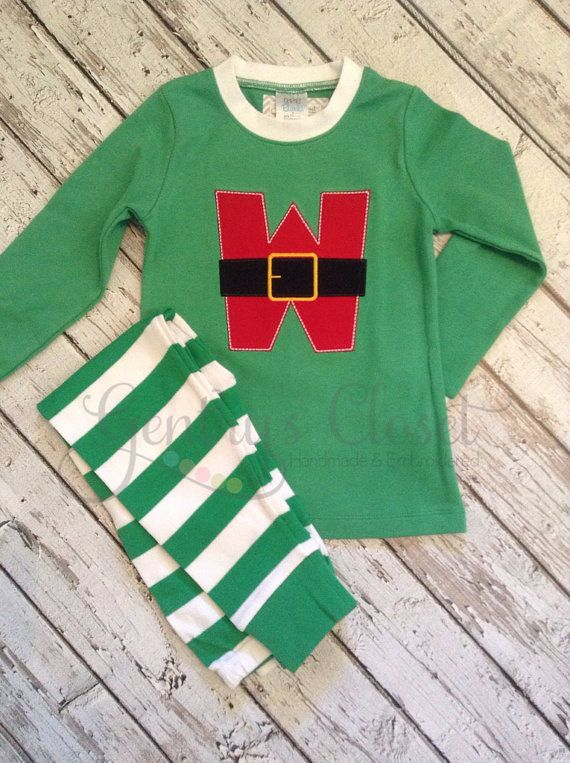 Monogrammed Christmas pajamas. Xmas pjs with by GentrysCloset