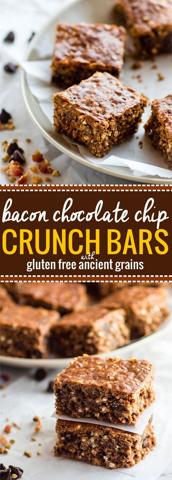 """Bacon Chocolate Chip homemade Crunch Bars! The original """"crunch"""" bar just got an upgrade! These gluten free crunch bars are and made with uncured bacon bits, dark chocolate chips, cocoa, and ancient grains! Sweet, crunchy, salty, and just plain DELICIOUS! @cottercrunch"""