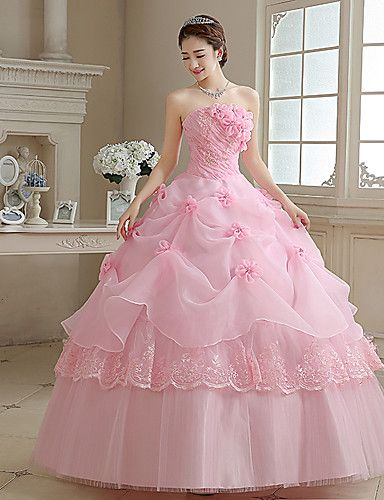 Ball Gown / Princess Wedding Dress Wedding Dresses in Color Floor-length Strapless Organza with Appliques / Pearl / Flower 2909790 2017 – $69.99
