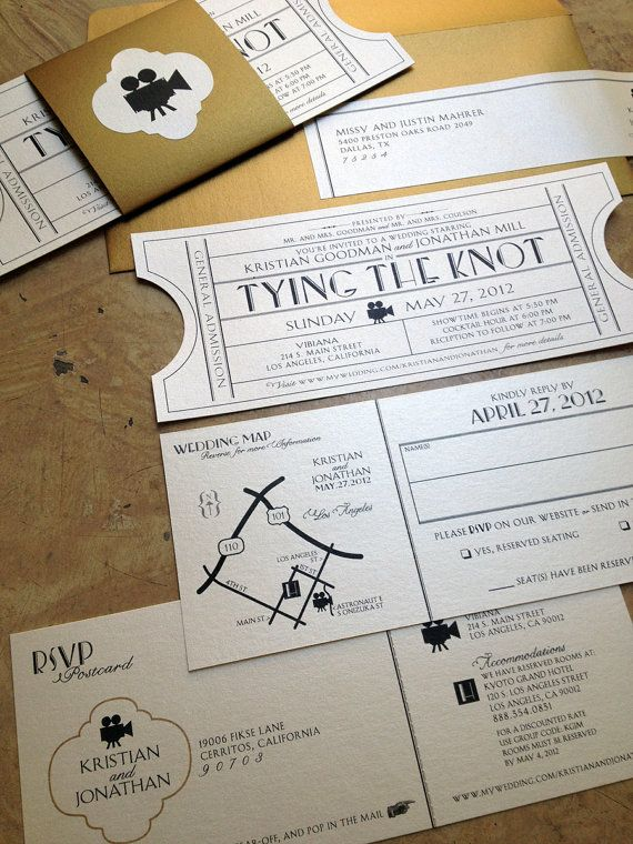 vintage ticket wedding invitation suite cinema film theater music or ballroom theme tear off rsvp postcard details map enclosure card - Movie Ticket Wedding Invitations