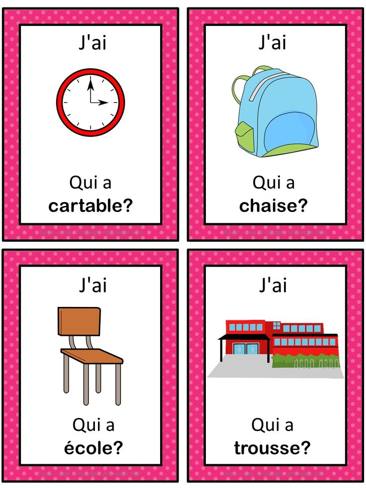 French version of the I have ... Who has ...? game. This French game can be played to practice French school words. The game has 39 cards with a colorful frame and 39 cards with a simple black frame to save you ink. There are 4 cards per page.
