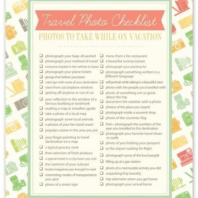 Travel Photography Checklist.  We're going to use it as an activity for our preteen/teen kids on our next trip.  Each day we'll give them items off this list that they have to take pictures.