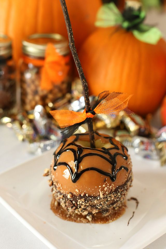 """<p>Apples take a swim in caramel, then a dunk in a chocolate bath, followed by a shower of chopped candy. </p> <p>Get the recipe from <a href=""""http://millionmoments.net/2013/10/creepy-candy-caramel-apples-halloween-drink-recipe.html"""" target=""""_blank"""">Million Moments</a>.</p> <p>Bonus: Thispost comes with a bonus recipe for Hawaiian Eyeball Punch.</p>"""