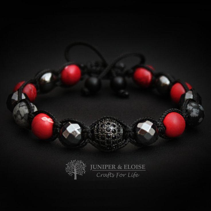 Womens Bracelet, Gift For Her, Gemstone Bracelet Gift, Trendy Gift,  Shambala Bracelet For Women, Womens Jewelry, Black Sİlver Red Bracelet by JuniperandEloise on Etsy