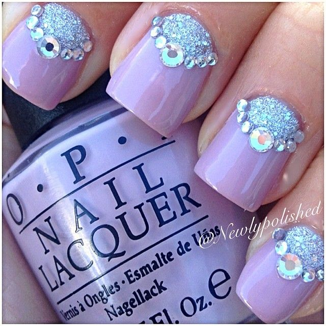 purple ground with silver glitter bear accent nails #nailart