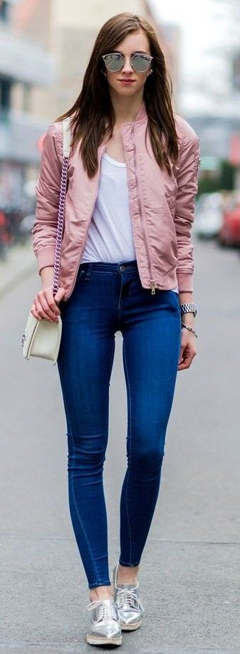 Pink Bomber Jacket, White Tee, Dark Blue Denim, Silver Sneakers | Vogue Haus