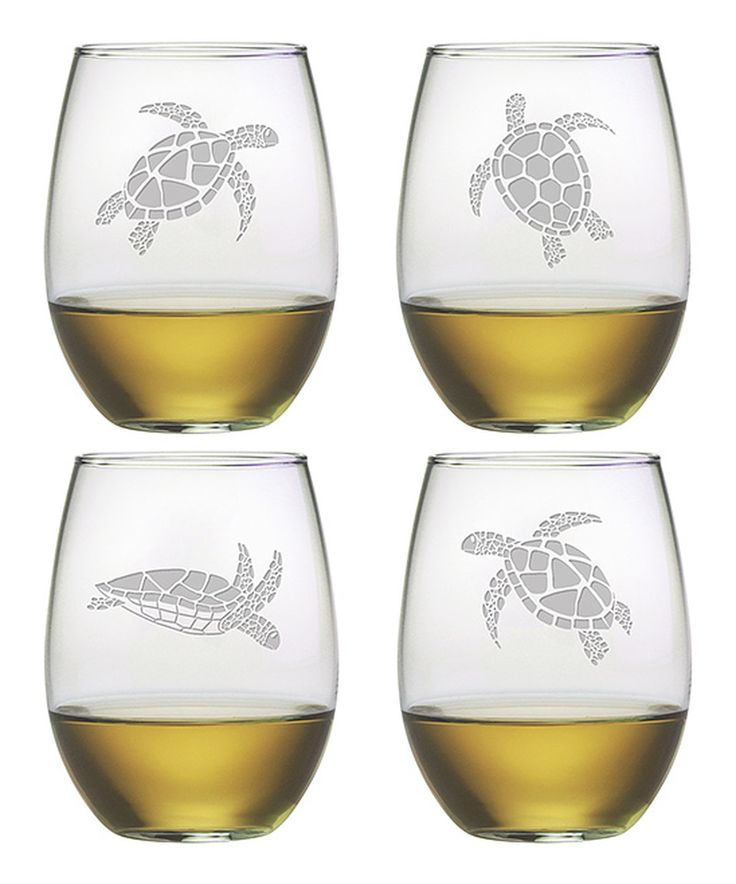 This Sea Turtle Stemless Wineglass - Set of Four by Susquehanna Glass is perfect! #zulilyfinds