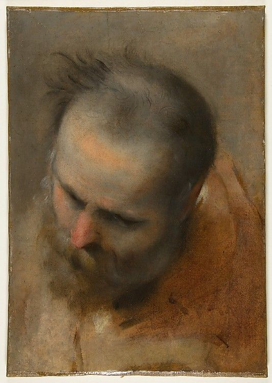 Head of a Bearded Man Looking to Lower Left Federico Barocci (Italian, Urbino ca. 1535–1612 Urbino) Date: 1579–82 Medium: Brush and oil paint on paper Dimensions: 15-1/4 x 10-3/4 in. (38.7 x 27.3 cm)